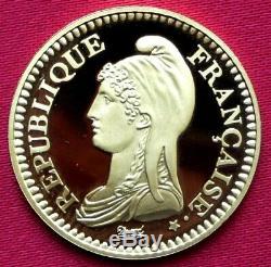 1 Franc Republic 1992 Gold Flan Bruni 9 Gr Very Rare