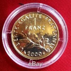 1 Franc Sower Bu Gold 2000 Very Rare Paris Mint