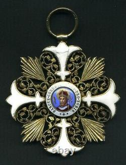 (155) Very Rare Papale Medaille Vatican In Bronze Porcelaine And Or 67.20 Gr