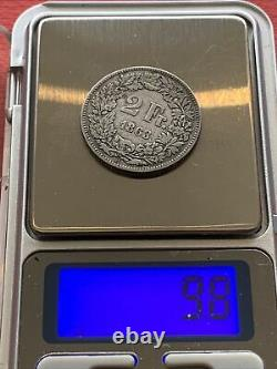2 Swiss Francs Silver 1863, Very Beautiful Coin, Rare