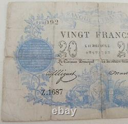 20 Francs Bank Of France 11 March 1873 Type 1871 Post Very Rare Chazal