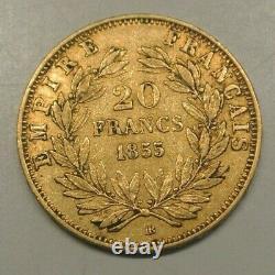 20 Francs Gold Napoleon III 1855 Bb Dog / Bee Tres Rare Ttb