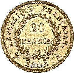 20 Francs Napoleon Paris 1807 Laureate Head Splendid Very Rare Quality Pcgs Ms62