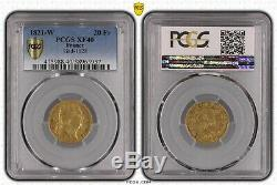20 Francs Or Louis XVIII 1821 W Lille Rare Xf40 Pcgs Vf