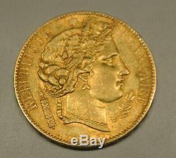 20 Francs Type Or Ceres 1850 A Crestfallen Ètat Rare Sup