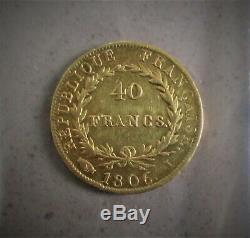 40 Francs Or Napoleon Tete Nue 1806 I Limoges Ex 6995 Very Rare
