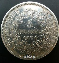 5 Hercules Camelinat Francs 1871 A Spaced Date. Very Rare