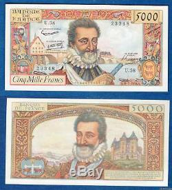 5000 Henry IV Francs Type 1957 07.10.1958 U. 58 New Rare