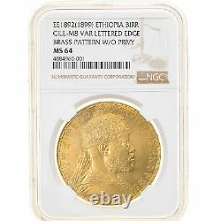 #906460 Mint, Ethiopia, Birr, 1892 (1899), Paris, Very Rare, Ngc, Ms64
