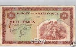 Bank Of Martinique 1000 Francs Nd (1942) Pick 21a Very Rare