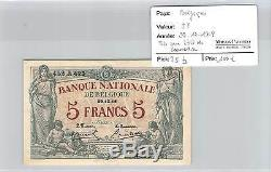Banknote Belgium 5 F Francs 29.12.1918 Very Rare State Of Conservation