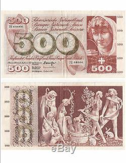 Banknote Switzerland Swiss Suisse Schweiz 500 Frs 24-01-1972 Very Rare Vf