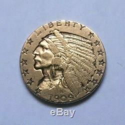 Beautiful And Rare Piece Of $ 5 Indian Gold 1909 S San Francisco