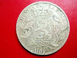 Belgium. Very Rare 5 Francs Leopold Ii, 1865. Silver. Ttb / Ttb +