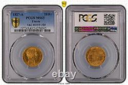 Charles X 20 Francs Gold 1827 Paris Splendid Pcgs Ms63 Very Rare Quality