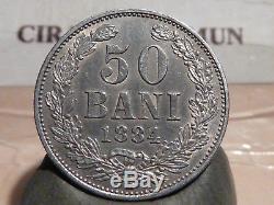 Cira (46) (1) Romania 50 Bani Silver 1884 B Very Rare Quality Sup +
