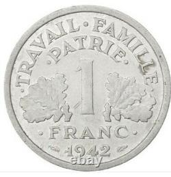 Coins French State Bazor 1 Franc 1942, Low Weight, Very Rare