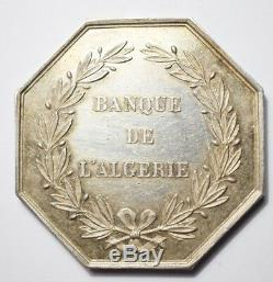Colonies Very Rare Silver Token Of The Bank Of Algeria (hand Punch)