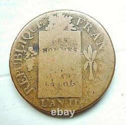 Convention 1 Soil With Scales 1793 Bb Type Francais Very Rare