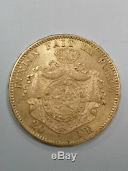 Currency, Belgium, Leopold Ii, 20 Francs, Frank 20, 1870 Sup, However Rare