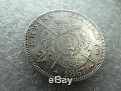 Extraordinary 2 Silver Francs Napoleon 3 1867 A Very Rare Quality