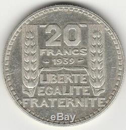 F. 400-20 Francs Turin 1939, Long Rakes. Authentic Guarantee. Very Very Rare