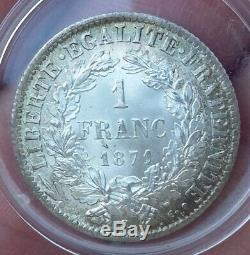 France- 1 Franc Currency Silver Type Ceres 1871 K Bordeaux Very Rare In The State