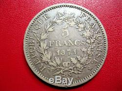 France. Very Rare 5 Francs 1871 A Camelinat, Trident, Spaced Date. Money. Ttb