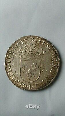 France. Very Rare And Beautiful Crown In The Long Wick Louis XIV 1653 L Silver
