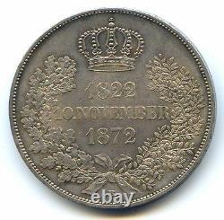Germany Saxony Johann Silver 2 Taler 1872 B Very Rare