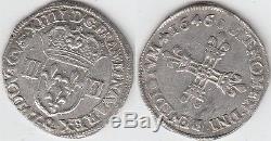Gertbrolen Louis XIV Very Rare Quarter Silver Shield 1646 Narbonne