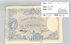 Italy Ticket 50 Lira 1893 Very Rare