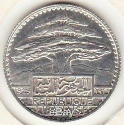 Lebanon Lebanon 25 Piastres 1929 Silver Test Very Rare. Lec 34, Km # E7