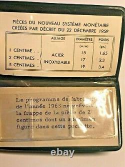 Lot 1 2 And 5 Centimes Épi 1961 Essay Very Rare Original Box Spl