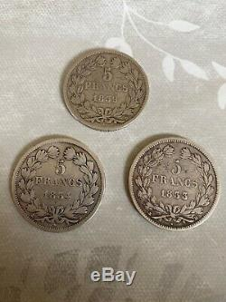 Lot 5 Francs Silver And Very Rare 1833 1834 1839 D And Very Very Rare