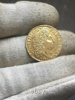 Louis D'or Au Soleil Gold Louis XIV 1711 N Montpellier Rrr Sup / Very Rare