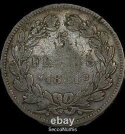Louis Philippe I 5 Francs 1831 M Head Lauré Slice In Creuse Very Rare 56637 Ex