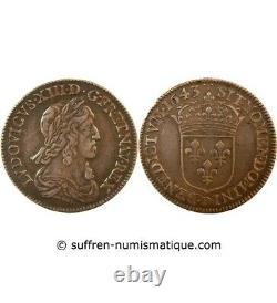 Louis XIII 1/4 Ecu Argent 1643 D Lyon 2nd Mark Of Warin Tres Rare