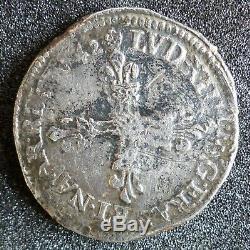 Louis XIII (1610-1643) Ecu Quarter 1642 Y Bourges Rare Workshop