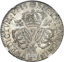 Louis XIV Ecu At 3 Crowns 1714 Very Rare Reindeer Splendid Ngc Ms61