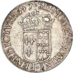 Louis XIV Ecu De Navarra In The Long Wick 1657 Saint-palais Superb Rare