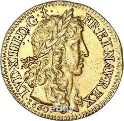 Louis XIV Louis Golden Bust Juvenile Laureate 1660 Paris Splendid Very Rare Condition