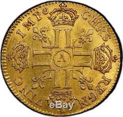 Louis XIV Louis Golden Head Manly Paris 1679 Pcgs Ms61 Very Rare Splendid