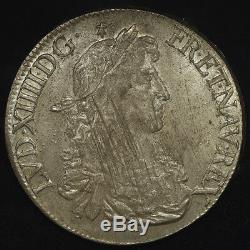 Louis XIV Superb Ecu With Juvenile Bust 1668 Rennes (9) Pcgs Ms62 Very Rare