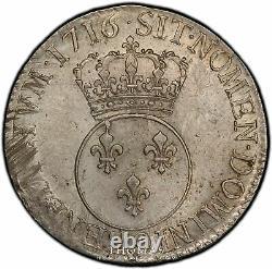 Louis XV Écu Vertugadin 1716 Rennes Flan Nine Sup Pcgs Au 55 Very Rare