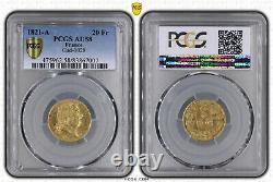 Louis XVIII 20 Francs Or 1821 Paris Pcgs Au58 Very Rare Superb