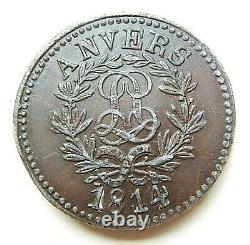 Louis XVIII Siege D'anvers Test 10 Cents 1814 Bronzed Tin Very Rare