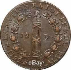 M5673 Very Rare Constitution 12 Deniers Louis XVI 1792 D Lyon Year 4/3 Francois Sp