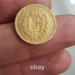 Monnaies Gold 10 Lire Charles-albert 1833 Turin Has Eagle's Head (were Rare)