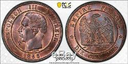 Napoleon 10 Centimes 1855 B Rouen Anchor Pcgs Ms64 + Rare Fdc CI